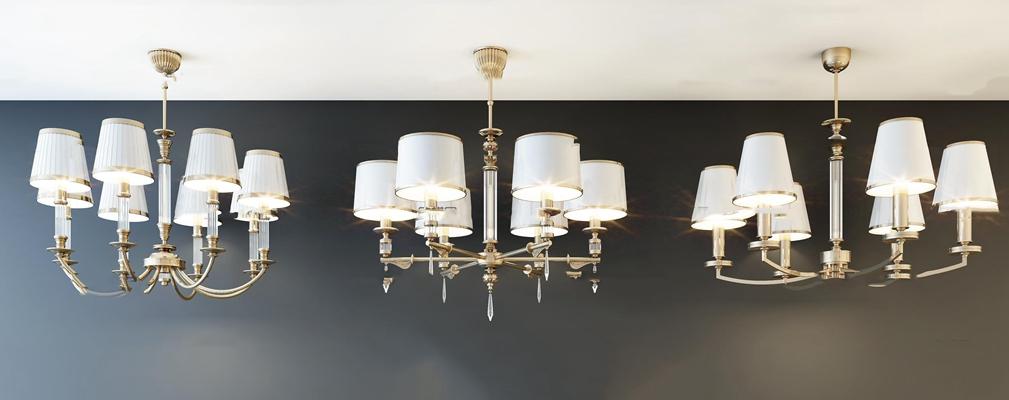 简欧金属吊灯组合3D模型