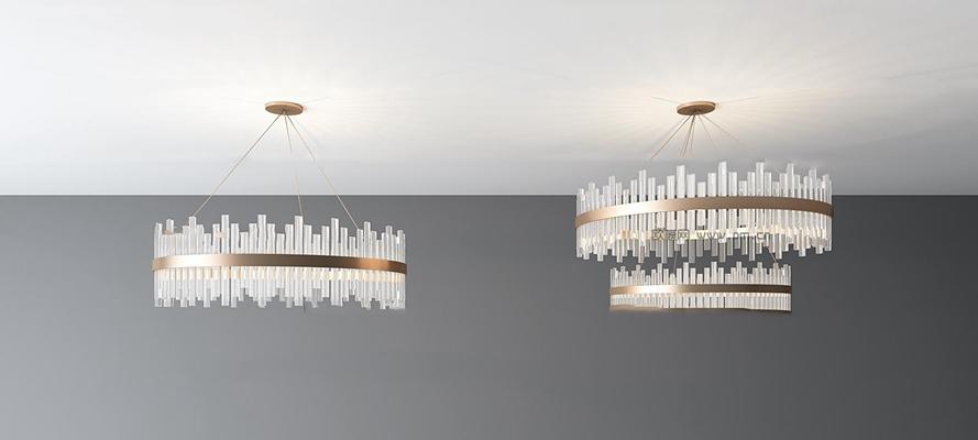 现代水晶吊灯组合3d模型