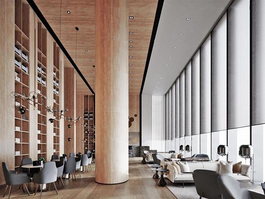 现代酒店大堂吧休息区3d模型