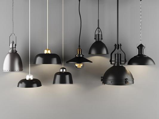 工业风金属单头吊灯组合3D模型【ID:57216287】