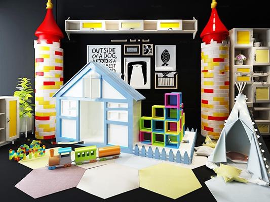 現代兒童卡通城堡玩具3D模型