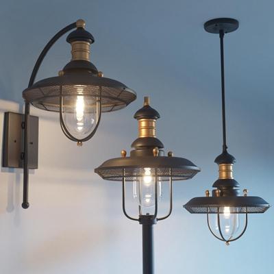 工业风金属吊灯壁灯组合3D模型