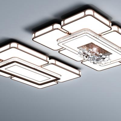 现代长方形水晶吸顶灯组合3D模型