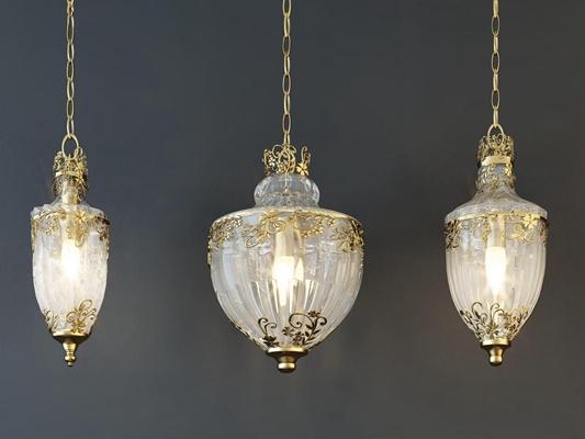 新古典欧式水晶玻璃灯组合 新古典水晶灯 玻璃吊灯 单头吊灯 欧式水晶灯