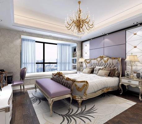 欧式古典卧室 欧式古典卧室 双人床 床具 床头柜 床尾凳 电视柜 梳妆台 椅子 水晶吊灯 台灯 软包 背景墙