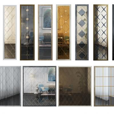 现代拼镜茶镜艺术玻璃墙组合