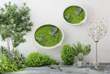现代园林小品 现代景观园林 园林小品 背景墙 绿植墙 树 室外植物