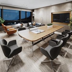 现代会议室 现代会议室 会议桌 会议椅 书架 绿植 落地灯 多人沙发 单人沙发 茶几