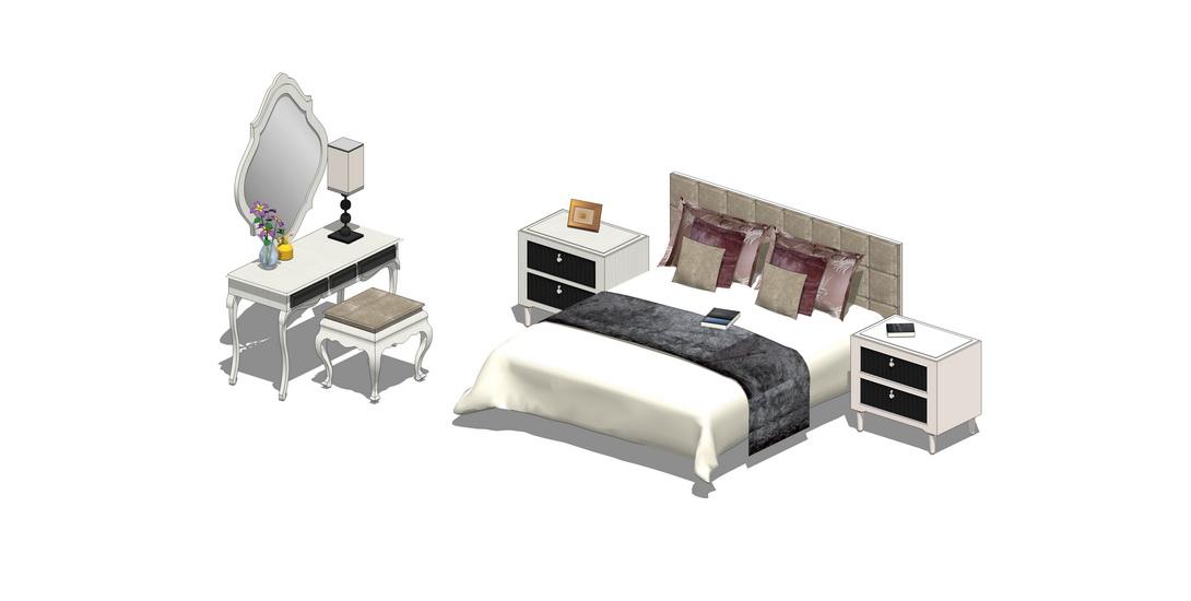 欧式双人床梳妆台组合SU模型