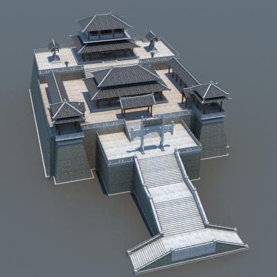 中式古建筑外观3D模型