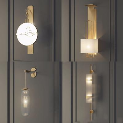 新中式金属壁灯组合 新中式壁灯 金属壁灯 玻璃壁灯