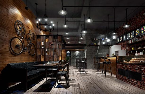 工业咖啡厅 工业风咖啡厅 吧台 吧椅 餐桌椅 吊灯