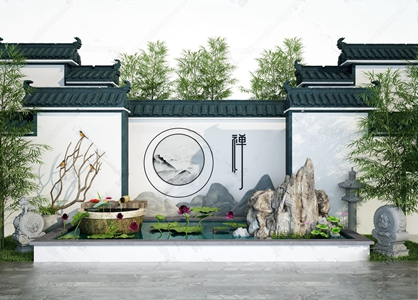 新中式徽派建筑庭院荷花池景观 新中式景观 徽派建筑 庭院 荷花池 假山 石雕