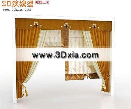 做工精细的3D窗帘模型