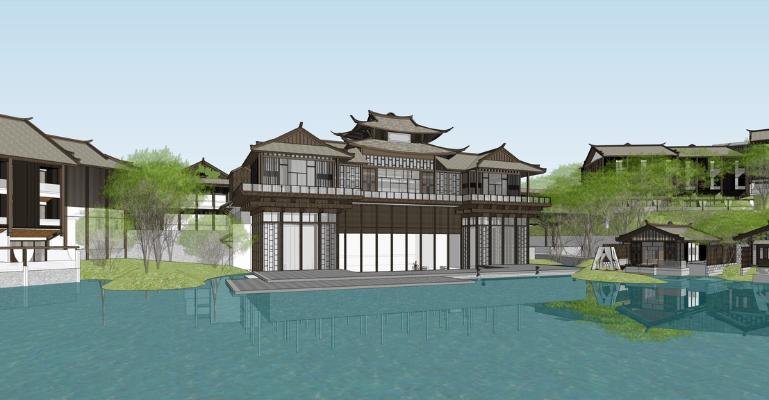 中式山地度假酒店SU模型