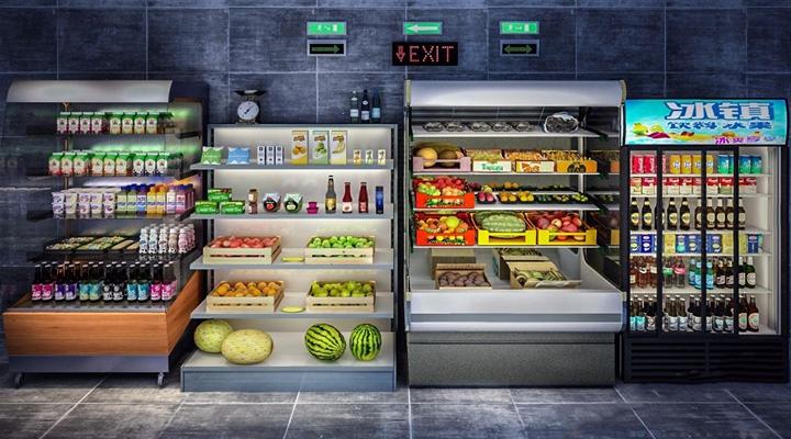 商场水果饮料柜 饮料柜 商场水果柜 冷藏柜 水果 啤酒 饮料