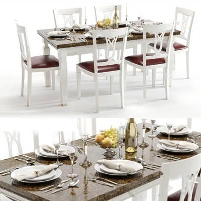 现代餐桌 3D模型下载