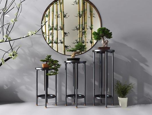 新中式花架台 新中式装饰架 植物摆件 竹子
