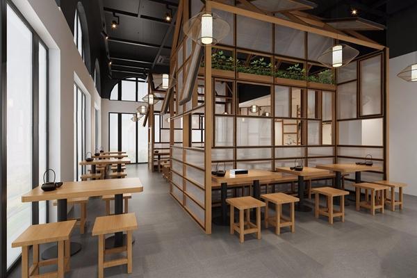 新中式面馆 新中式餐饮空间 餐厅 包间 餐桌椅 凳子 单头吊灯 隔断 柜台