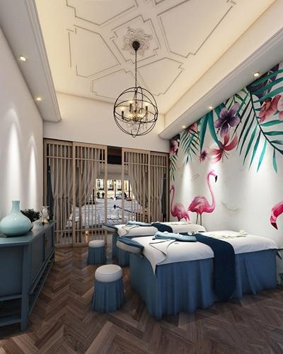 新中式美容院 新中式spa 按摩床 玄关柜 吊灯 凳子 美容院
