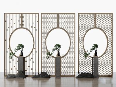 新中式盆栽花格屏风隔断3d模型