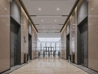 现代写字楼电梯走廊3d模型