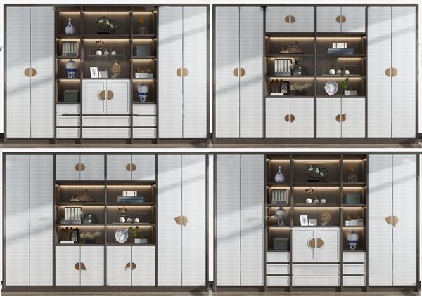 新中式实木书柜装饰柜3d模型