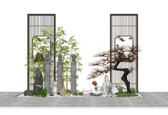 新中式庭院小品SU模型