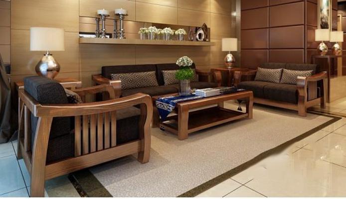 东南亚现代中式实木沙发 东南亚沙发 双人沙发 沙发椅 茶几 边几 台灯 盆栽 烛台 摆件
