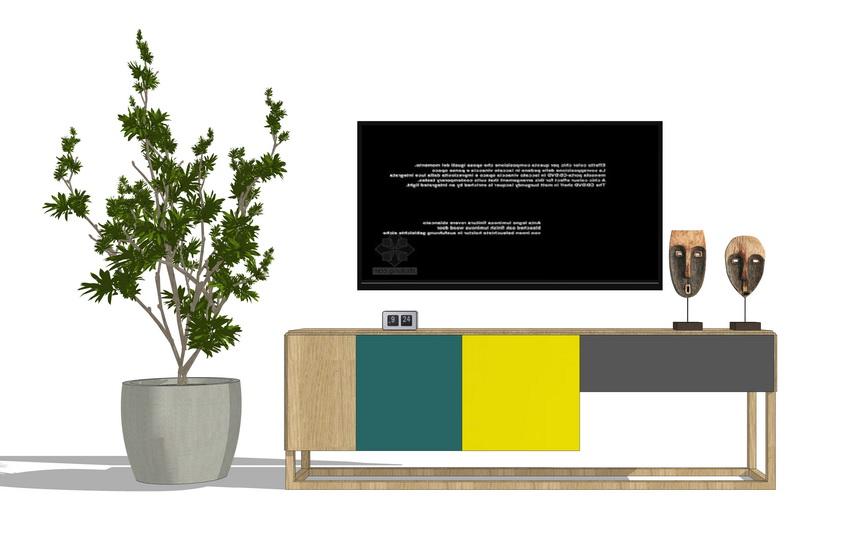 北欧风格电视柜SU模型