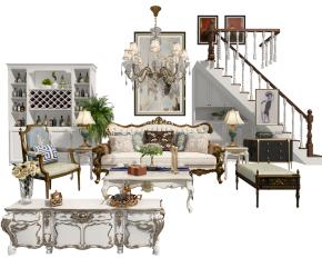 欧式沙发茶几电视柜酒柜楼梯3D模型