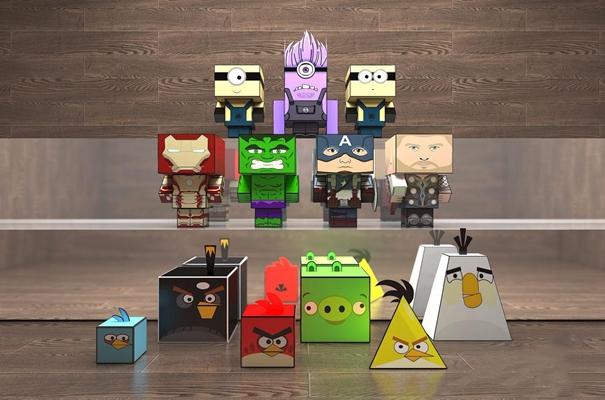 方盒子玩具装饰摆件 现代玩具 愤怒的小鸟 复仇者联盟 小黄人 玩具 装饰 摆件