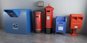 现代邮筒邮箱组合3D模型