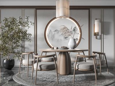 新中式圆形餐桌椅3d模型