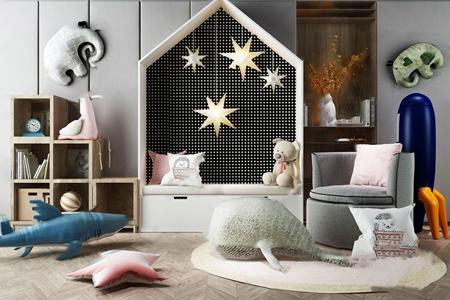 现代儿童房玩具公仔 现代玩具 装饰柜 单人沙发 陈列柜 抱枕 地毯 儿童房玩具 公仔 墙饰