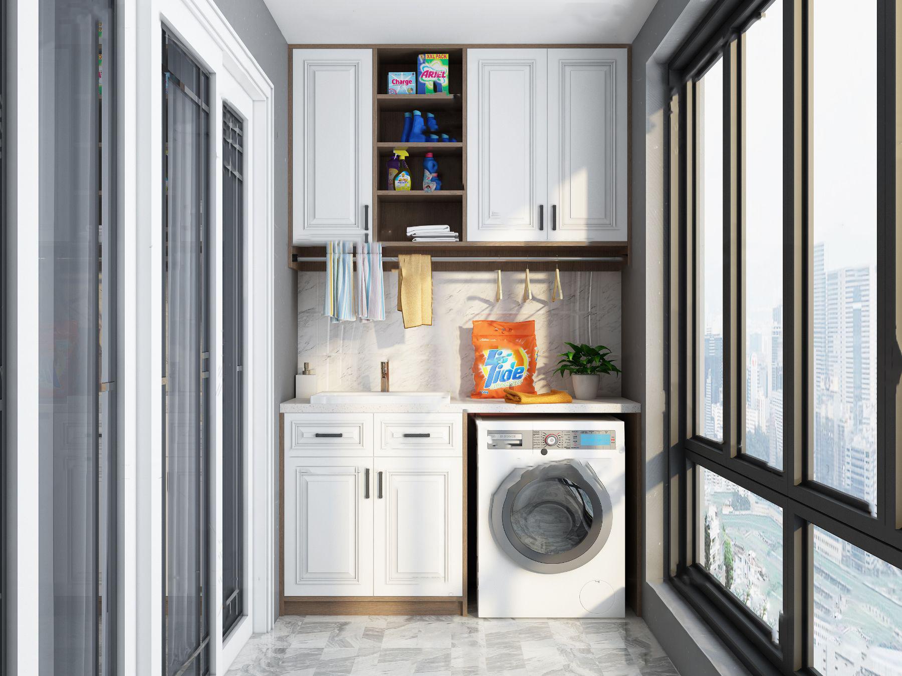 现代阳台洗衣房3d模型