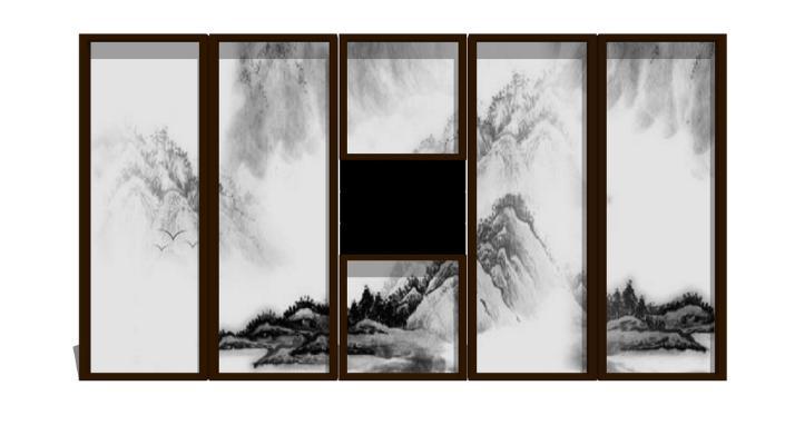 中式屏风隔断SU模型