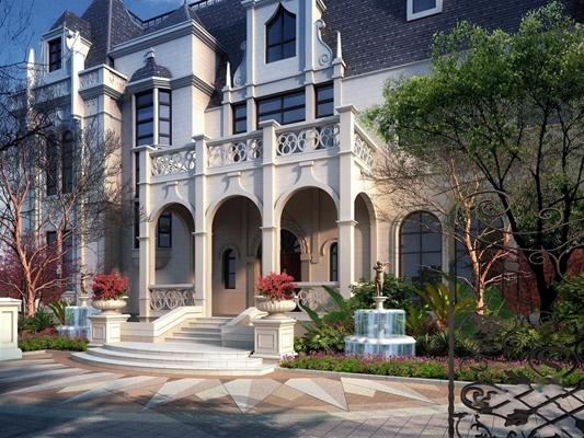 美式别墅建筑 美式建筑 别墅 室外地面 树 室外灯 路灯 喷泉 水池 铁艺门