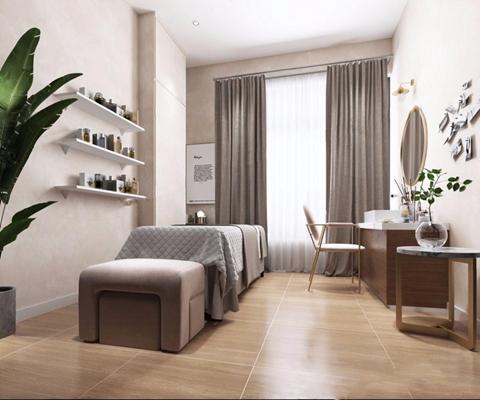 现代美容室 现代spa 按摩床 休闲椅 装饰镜 脚凳 壁灯 单人床