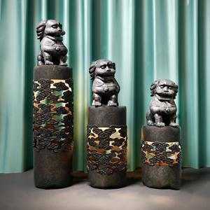 祥云镂空柱 新中式柱子 石狮子 石柱摆件 玉石摆件 石柱
