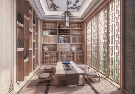 日式榻榻米茶室 日式茶室 新中式茶室 榻榻米 吊灯 壁柜 摆件 茶桌椅