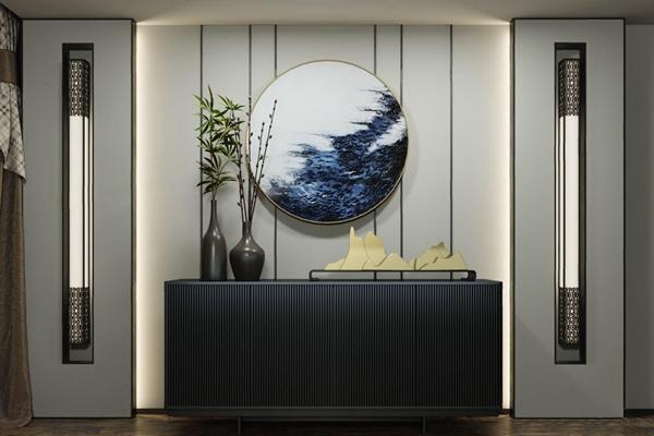 新中式边柜 新中式边柜/玄关柜 餐边柜 壁灯 挂画 绿植 摆件