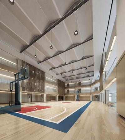 室内篮球场 室内篮球场 球框 吊灯