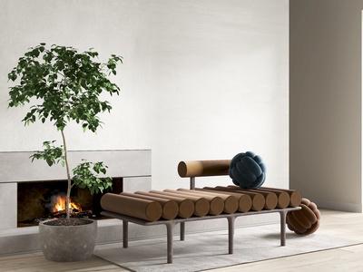 现代绒布个性长凳3d模型