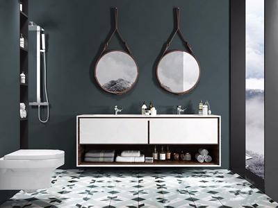 北欧浴室柜马桶淋浴组合 北欧卫浴用品 马桶 浴室柜 淋浴 镜子 洗漱用品