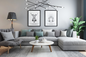 北欧转角沙发茶几灯具组合3D模型