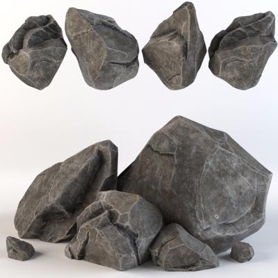 现代石头石块3D模型