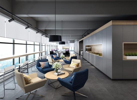 现代工装大厅 现代办公区 休闲椅 餐桌 吊灯 办公桌 办公椅 电脑