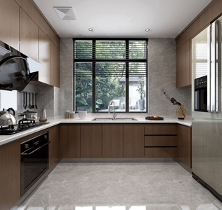 现代厨房 现代厨房 橱柜 油烟机 冰箱 灶台 吊柜