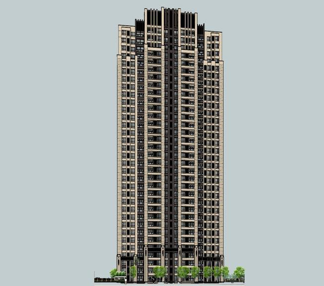 新古典高层住宅SU模型